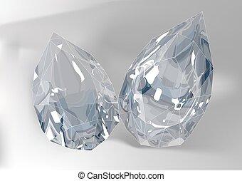 Cut of gemstones. pear cut