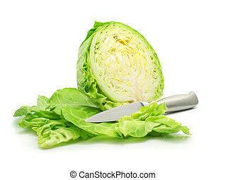 cut of green cabbage vegetable isolated