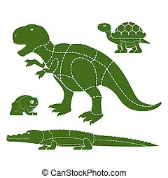 Cut of meat set beast . Turtle and frog silhouette scheme...