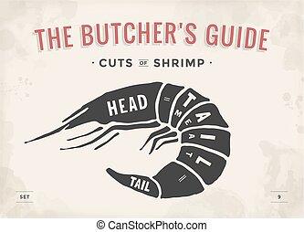 Cut of meat set. Poster Butcher diagram and scheme - Shrimp