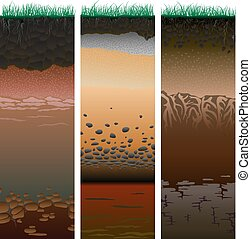 Three columns with cut of soil (profile) with a grass, roots, layers of the earth, clay and stones (Vector illustration).