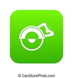 Cut off machine icon digital green