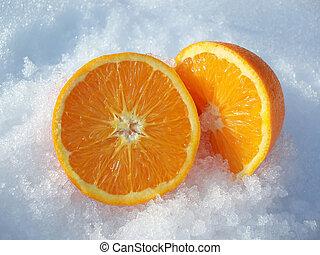 cut orange - Close-up of pieces of cut orange in white snow...