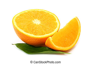 Cut orange with leaf on white background