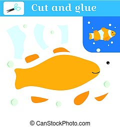 Cut out and glue. Paper stitches game for preschoolers. Puzzle - applique. Handmade to create a fish. Clown fish and bubbles. Learning card. Vector illustration.