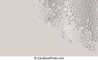 Cut out arabic abstract background, backdrop, card template. Cut out paper. Colofrul vector template.