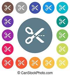 Cut out flat white icons on round color backgrounds