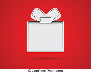 Cut out gift box card on red background