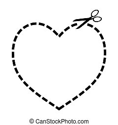 Heart concept with dotted line and scissors illustration