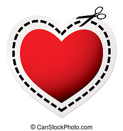 cut out heart red - Red heart icon with scissors and love...