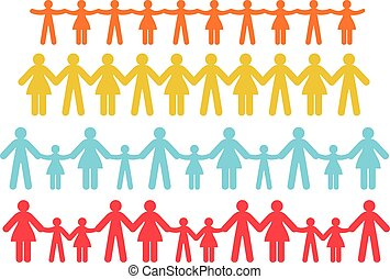 Cut out human chain - Cut out human with different colors on...
