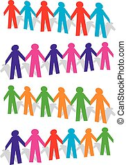 Cut out human with different colors on white background.