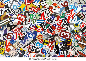 Cut out letters and numbers - Heap of cutout letters and...