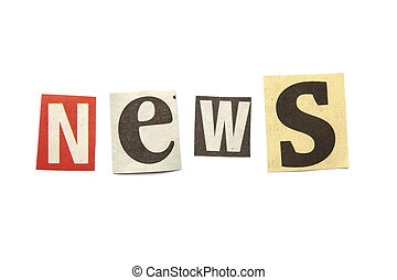 Cut out letters saying news - Set of letters cut out from...