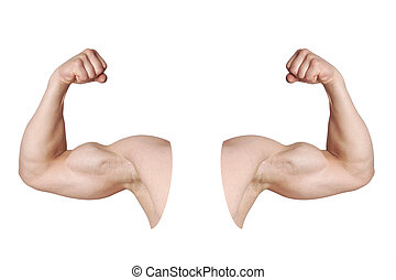 male arms with flexed biceps muscles