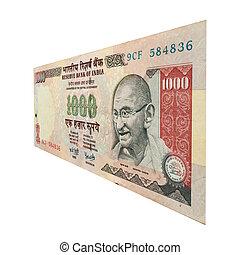 1000 Rupee Note with Mahatma Gandhi