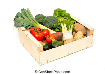 Cut Out of Assorted Fresh Vegetables in Wooden Crate
