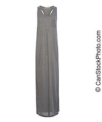 Cut-out of Dark Grey Razorback Long Dress on Invisible Mannequin