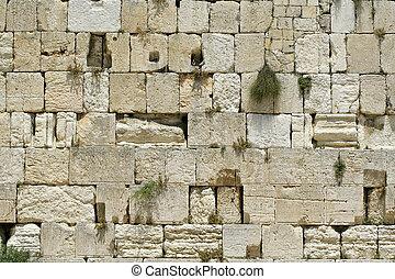 cut out of the wailing western wall, jerusalem, israel