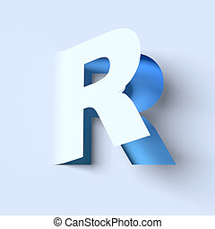 cut out paper font letter R 3d isolated illustration