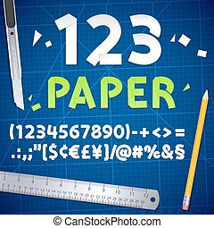 Cut Out Paper Numbers and Equipment Set