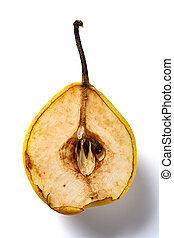 cut out section of an overripe pear on white background
