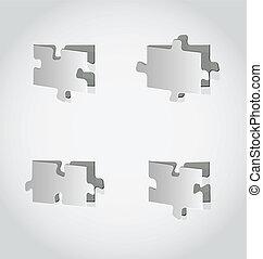 Cut out set puzzle pieces, grey paper