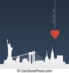 Cut-out silhouette of New York - White silhouette of skyline...