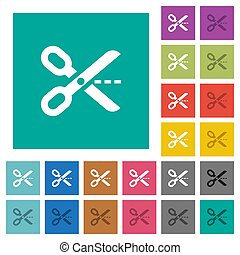 Cut out square flat multi colored icons
