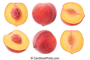 Cut peaches collection