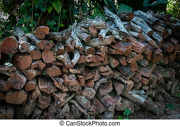 cut pieces of firewood ready to be used