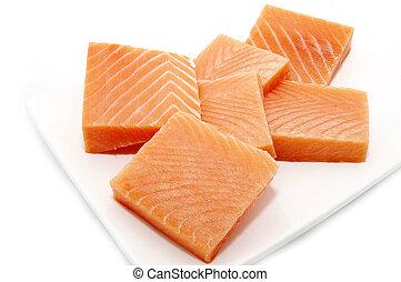 pieces of salmon
