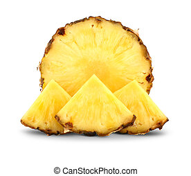 pineapple with slices isolated on white - Cut pineapple with...