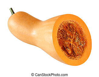 Cut pumpkin isolated on white background with clipping path