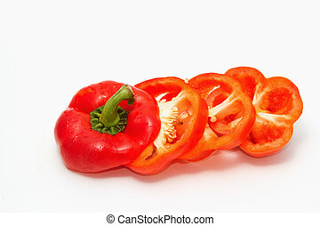 Cut red pepper isolated on white background