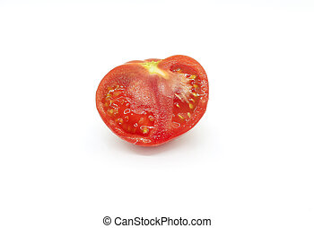 Cut red tomatoe on a white background