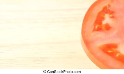 Cut red tomatoes close up dolly shot
