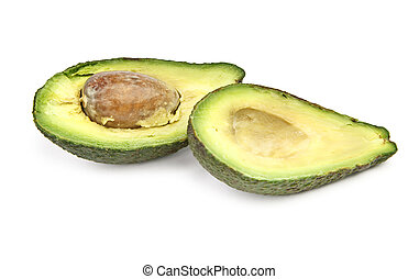 cut ripe avocado fruit on white