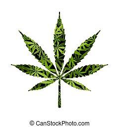 Cut silhouette Cannabis marijuana background