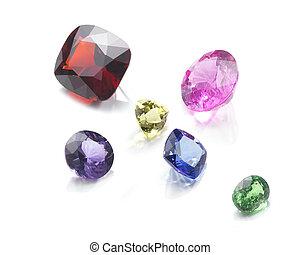 semi-precious stones - cut six semi-precious stones