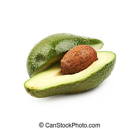 Cut sliced ripe avocado isolated
