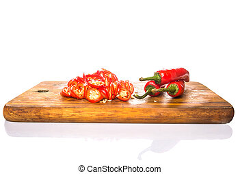 Cut Slices Of Red Chili Peppers