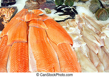 cut slices of red fish fillet