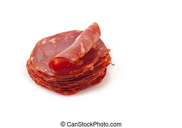 Cut slices of red iberian chorizo