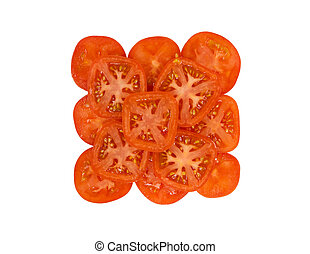 Cut slices of red tomato