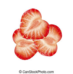 Cut strawberry isolated on white background