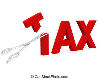 Cut tax with scissor isolated on white