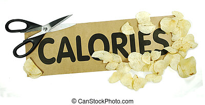 Cut the calories - Concept of cutting calories with scissors...