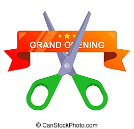cut the red ribbon with scissors. grand opening of the enterprise.