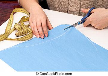 cut tissue - cut blue cloth